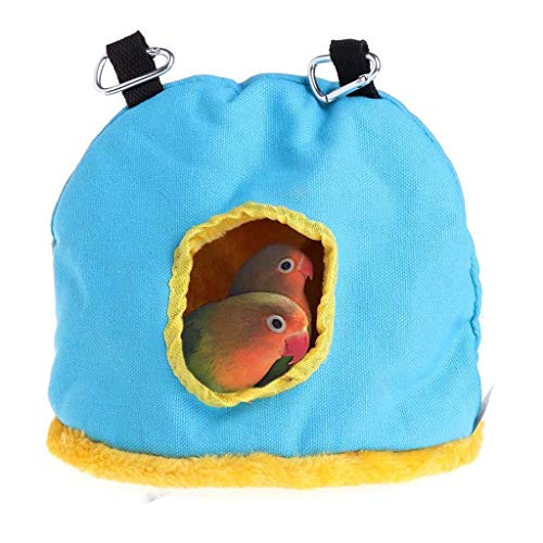 Goodtrade8 Clearance Pet Sleeping Nest Winter Warm Bird Bed House Safety Pet Bird Cage Hanging Cage Plush Bed for Parakeet Hamster Best Pet Supplies (L, Blue)