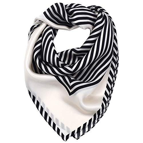 LDCSA Seidentuch Damen 100% Seide Quadratisch Halstuch Tuch Geschenk 70 X 70cm (Gestreift-schwarz)