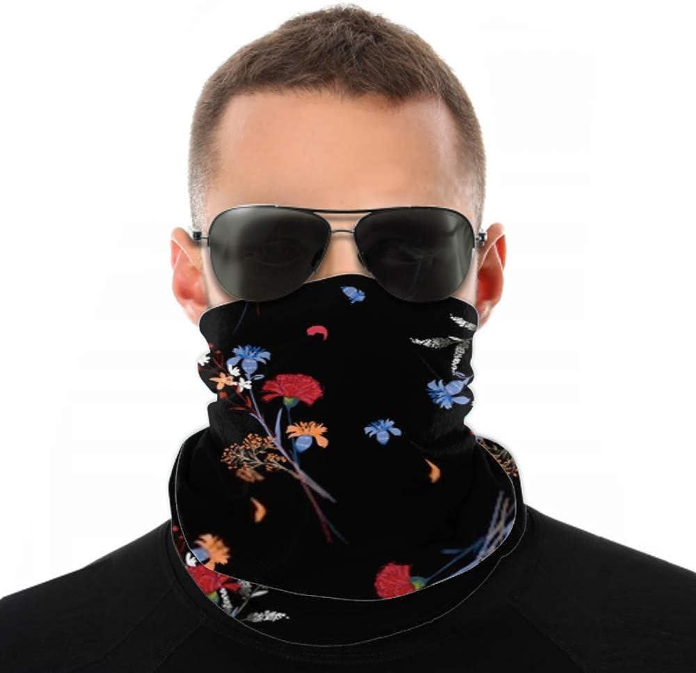 Headbands For Men Women Neck Gaiter, Face Mask, Headband, Scarf Beautiful Dark Wild Flower Pattern Botanical Turban Multi Scarf Double Sided Print Girls Headband For Sport Outdoor