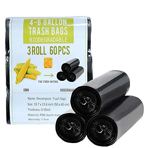 4 Gallon Trash Bags Black Biodegradable Small Garbage Bags 60 Cts Recycled Compostable Unscented Strong Trasn Can Liner for Bathroom Office Restroom Car