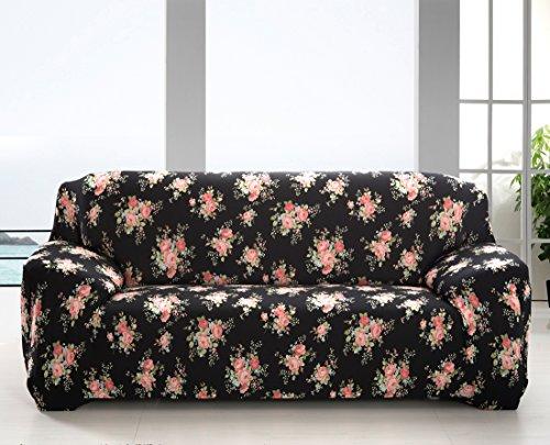 MONY Fundas de sofá 1 plazas funda de sofá estiramiento elástico del perro casero Sofá protector Tres Plazas Black Rose