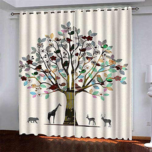 YUNSW Art Elk 3D Digital Printing Polyester Fiber Curtains, Garden Living Room Kitchen Bedroom Blackout Curtains, Perforated Curtains 2 Piece Set
