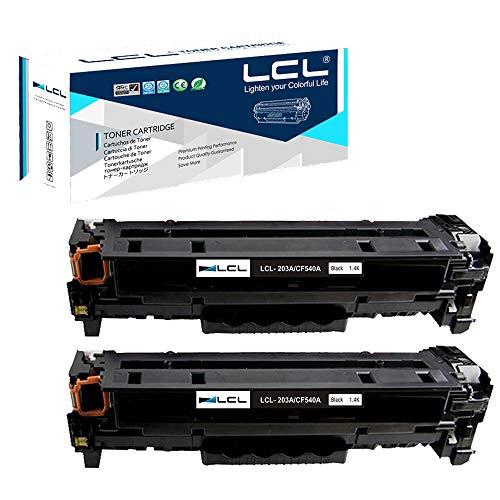 LCL Compatible Cartucho de tóner 203A CF540A (2 Negro) Reemplazo para HP Color Laserjet Pro M254dw/254NW,Laser Jet Pro MFP M281dw/M281CDW/M281FDW/M280NW HP Color Laserjet Pro M254dn/M281fdn 1400Pág
