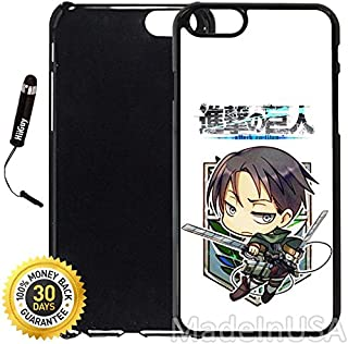Custom iPhone 6 Plus/6S Plus Case (Attack on Titan Chibi Levi) Edge-to-Edge Plastic Black Cover with Shock and Scratch Protection   Lightweight, Ultra-Slim   Includes Stylus Pen by INNOSUB