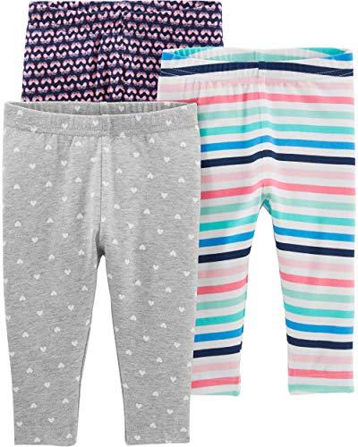 Simple Joys by Carter's Girls' 3-Pack Leggings, Gray/Navy/Multi Stripe, 3-6 Months
