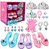 Toycost Princess Dress Up Shoes and Jewelry Boutique Set with 3 Pairs Pretend Play Shoes and Multiple Princess Jewelry Accessories for Little Girls, 3 Tiaras, 3 Earrings, 3 Rings, 3 Necklace, 1 Gloves