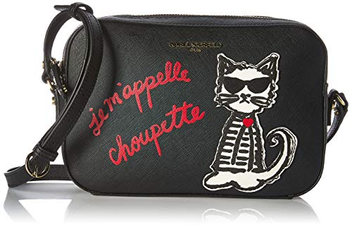 Karl Lagerfeld Paris Damen Maybelle CHOUPETTE Camera Crossbody Umhängetasche, Schwarz Valentine, Einheitsgröße