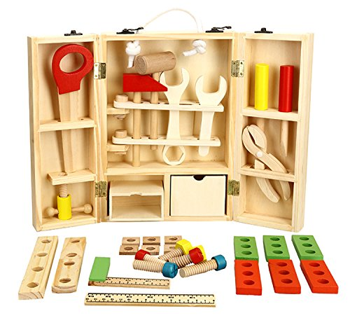 Lewo Wooden Tool Toys Pretend Play Toolbox Accessories Set Educational Construction Toys for Kids