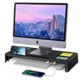 STOON Monitor Stand, Computer Monitor Stand Riser with 3 USB Ports, Support Charging & Data Transfer, Desk Organizer with Phone Holder, Desktop Stand for PC, Laptop Computer and Printer