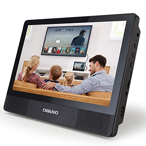 Digiland Portable DVD Player Android Wi-Fi Tablet Combo 10.1-Inch Touchscreen, 16GB Storage, Quad-Core 1.3GHz, with Headrest Mount, AC Charger Adapter and Car Charger, for Car and Home Use (DL1001-A)