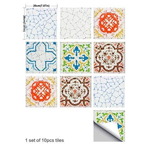XOSHX 10 stuks x 20 cm x 20 cm, stickers voor tegels, woonkamer, keuken, badkamer, muurstickers