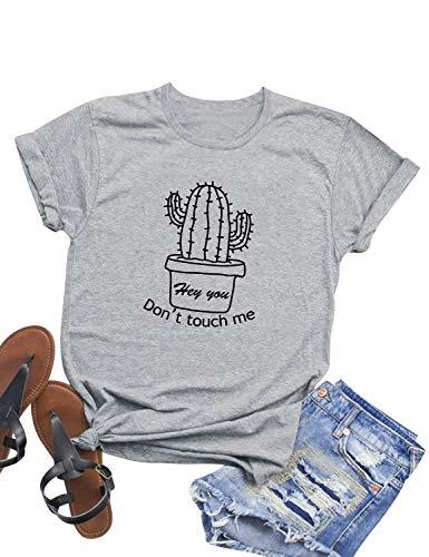 Dresswel Camiseta de Mujer Manga Corta Cuello Redondo Don't Touch Me Letra Impresa Camisa Gráfica Cactus Blusa
