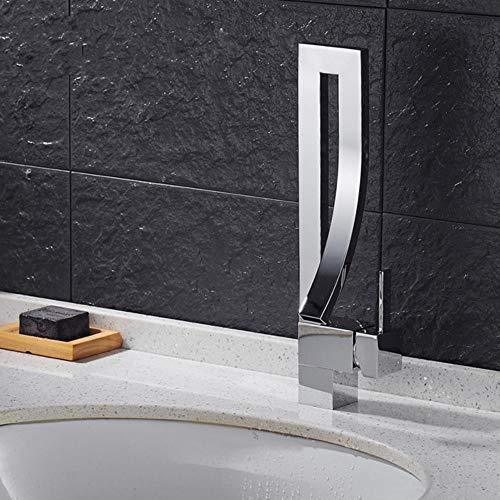 Cuenca Grifos sola manija de latón cromado cubierta montada cuadrada alta grifo lavabo del baño caliente y fría Mezclador agua del grifo, SLT103, cromo