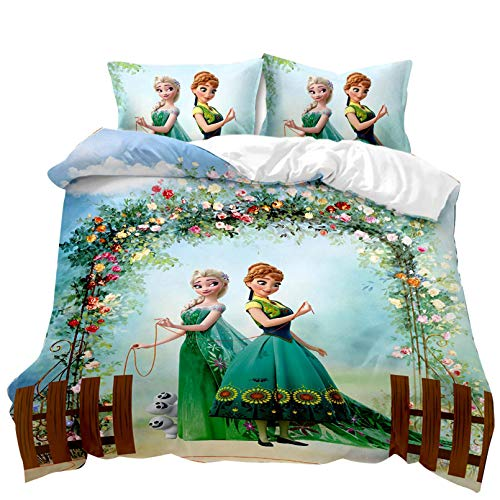 BATTE Disney Frozen Duvet Cover Set,100% Microfiber Elsa & Anna Duvet Cover with Pillowcases,for Xmas Home Decor and Hotel Collection (14,135 x 200 cm)
