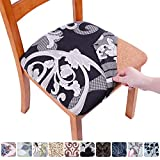 smiry Printed Dining Chair Seat Covers - Stretchy Removable Washable Upholstered Chair Seat Slipcover Protector (Set of 6, Black Floral)