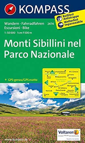 Carta escursionistica n. 2474. Monti Sibillini nel parco nazionale 1:50.000: Wanderkarte mit Radtouren. GPS-genau