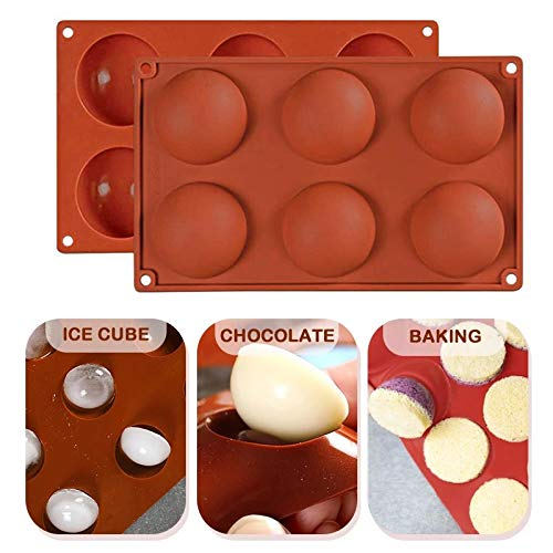 6 Holes Silicone Molds For Chocolate, Cake, Jelly, Pudding, Handmade Soap, Christmas Semi Sphere Silicone Mold Fondant Sugar Craft Tools DIY Hot Choc Bomb Half Ball Mould (2pcs)
