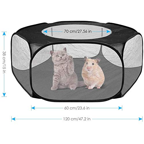 Gebuter Small Animals Cage Tent with Top Cover, Breathable Foldable Pet Playpen Pop Open Outdoor Indoor Exercise Fence, Portable Yard Fence for Guinea Pig, Rabbits, Hamster, Chinchillas and Hedgehogs