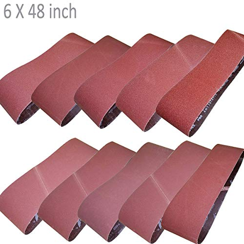 Sackorange 10 PCS Sanding Belts 6-Inch x 48-Inch 60 80 100 120 150 180 240 320 400 and 600 Grit Aluminum Oxide Sanding Belts For Belt Sander (6x48in)