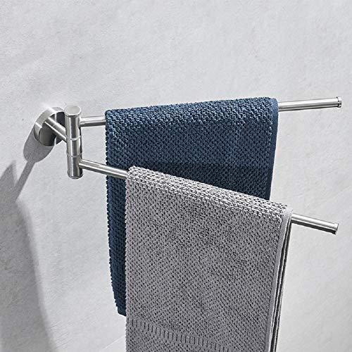 Toallero de pared montado en la pared – Brazo de barra de baño de acero inoxidable plateado, para baño, cocina, soporte giratorio para toallero, organizador plegable para ahorrar espacio (2 brazos)
