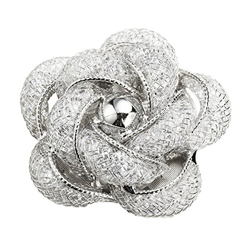 Merdia Fashionable and Refined Hollow-Out Brooches Breastpin with White Color for Girls Ladies and Women