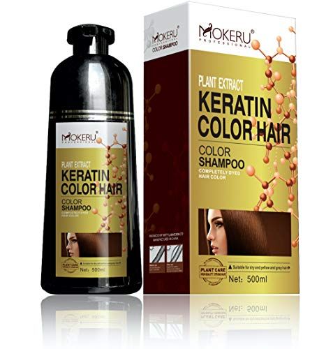 MOKERU Professional Keratin Oil Hair Dye Color Shampoo 500 ML: New Instant Fast Acting Long Lasting Signature Bundle by Maani