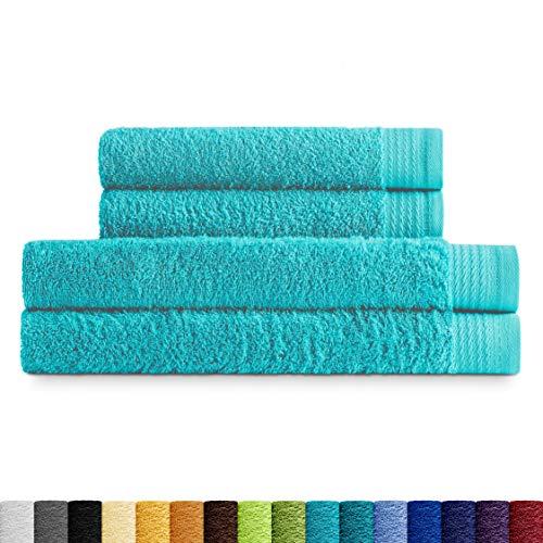Eiffel Textile Juego de Toallas Calidad Rizo 600 gr, Algodón Egipcio 100%, Aguamarina, 2 Lavabo 2 Ducha, 4 Unidades