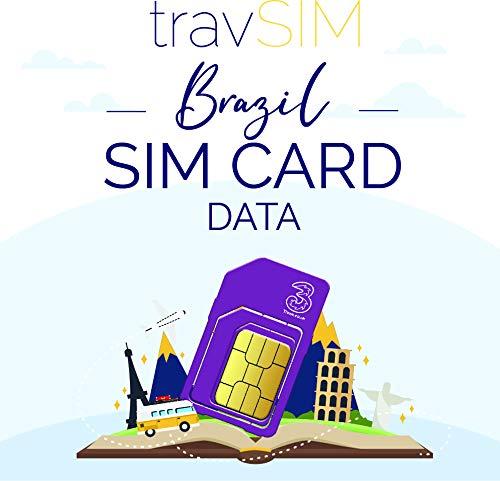 travSIM SIM Karte für Brasilien (Three UK SIM Karte) Gültig für 30 Tage - 20GB Mobile Daten - Brasilianische UK Three SIM Karte für Brasilien - Kostenloses Roaming in 71+ Reisezielen