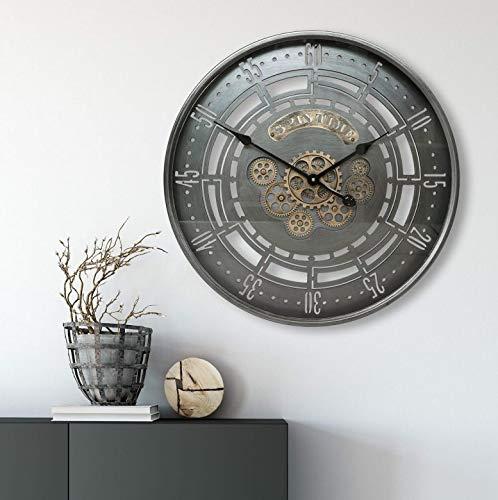 K&L Wall Art Riesige XXL Vintage Metall Glas Wanduhr Extra Grosse Loft Style Wand Uhr mit bewegenden Zahnrädern Ziffern Rustikal Antik (Ø 59 cm, Silber Kupfer)