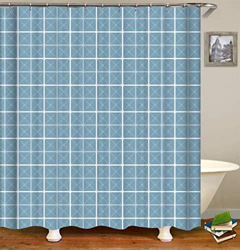SLN Blauer Hintergr&. Geometrische Quadrate. Duschvorhang. 180 X 180 cm. 12 C-Förmige Haken. Einfach Zu Säubern. Wasserdicht. Nicht Verblassen. Haus Dekoration.