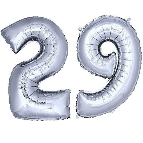 DekoRex® número Globo decoración cumpleaños Brillante para Aire y Helio en argentado 120cm de Alto No. 29