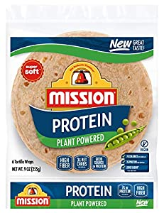 Mission Protein Tortilla Wraps, High Fiber, Low Carb, Vegan, 6 Count