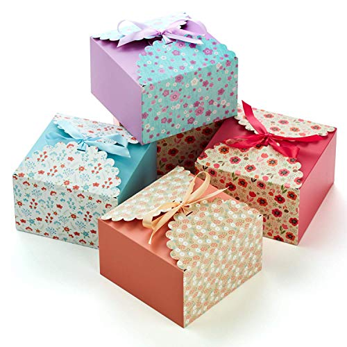 Hayley Cherie Gift Treat Boxes with Ribbons (20 Pack) - Thick 400gsm Card - 7.3