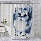 Aishare Store - Cortina de ducha con ganchos, pintura de gatito con colores envejecidos, color gris y blanco