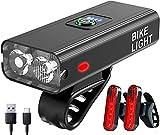 Luz Bicicleta Recargable USB, XVZ Juego de luces para bicicleta, 6 Iluminación Modos aleación de aluminio superbrillantes Luces Bicicleta, para bicicleta de montaña, luz delantera y dos luces traseras