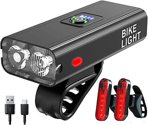 XVZ Luci Bicicletta LED, Set di luci per Biciclette, 6 modalità di Luce Lega di Alluminio Super Bright USB Ricaricabili 5200mAh Luci per Bicicletta(Un Faro per e Due fanali Posteriori)
