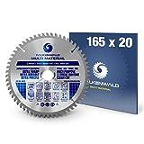 FALKENWALD ® Lame scie circulaire 165 x 20 mm (Multi) pour bois, métal, plastique et aluminium avec 60 dents en métal dur - Lames de scie circulaire 165 mm compatible avec Bosch, Metabo