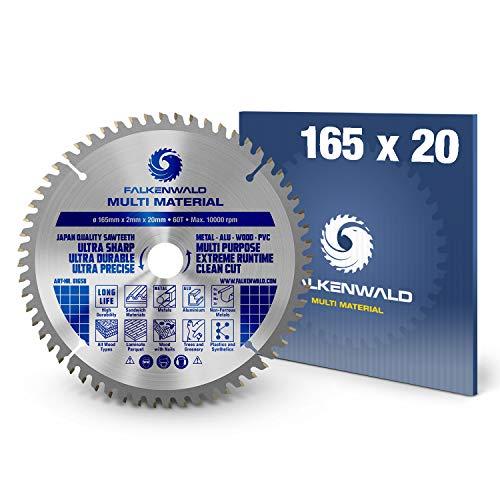 FALKENWALD ® Kreissägeblatt 165 x 20 mm - Ideal für Holz, Metall & Alu - Handkreissägeblatt kompatibel mit Tauchsäge & Kreissäge von Bosch & Makita - Universal Sägeblatt aus hochwertigem Hartmetall