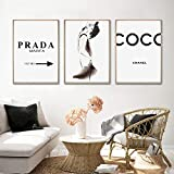 Fashion Marble Coco Quotes Poster Black White Vogue Feather Mujer Arte de la Pared Pintura en Lienzo...