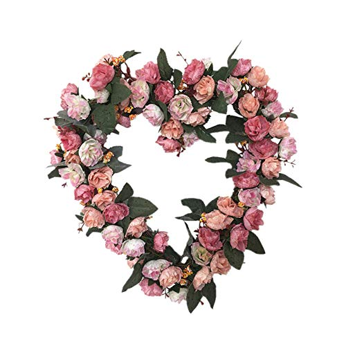 Gofodn Artificial Roses Heart-Shaped Garland Decoration Home Fake Flowers Vine Flowers Plants, Artificial Flower Hanging for Home Hotel Office Wedding Party Garden Craft Art Decor