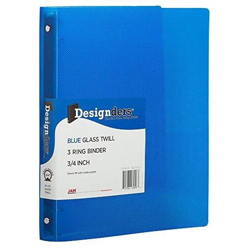 JAM PAPER Plastic 0.75 inch Binder - Blue 3 Ring Binder - Sold Individually