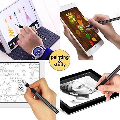 『Mixoo タッチペン スマートフォン iphone スタイラスペン ipad pro Android イラスト タブレット用 スマホ ペン ディスク 交換用ペン先3個 仕事 ゲーム用 stylus pen(ブラック)』の4枚目の画像