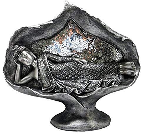 REVIMPORT 19/3192Oggetto di Decorazione Sakyamuni Allungato Resina Argento 41,5x 11,5x 32cm
