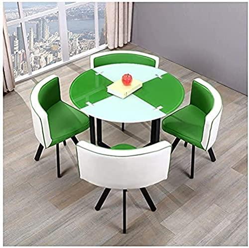 XKun Home - Juego de mesa y sillas combinadas, 1 mesa de 4 sillas, mesa redonda, juego moderno de mesa y silla (color: azul)