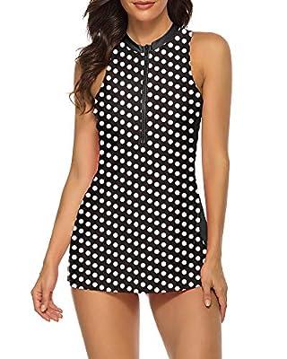Wolddress Womens Racerback Tankini Swimdress Zip Front Two Piece Swimsuit Black White Dot L