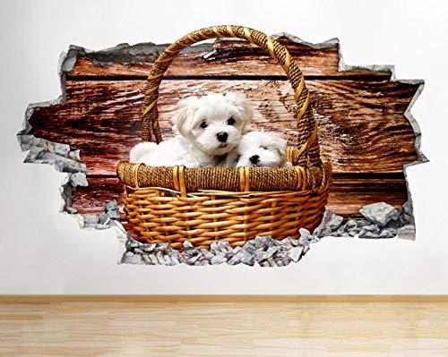 C874 Puppy hond schattige mand slaapkamer gebroken muur Decal 3D Art Stickers Vinyl kamer