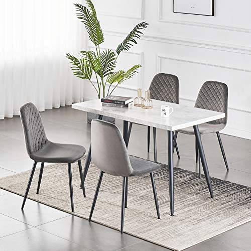 Greneric 2er Set Esszimmerstühle Wohnzimmerstuhl Sessel mit Rückenlehne Sessel Stuhl Scandinavian Vintage Künstlich aus Samt mit Stahlbeinen in Schwarz (Samt grau, 2)