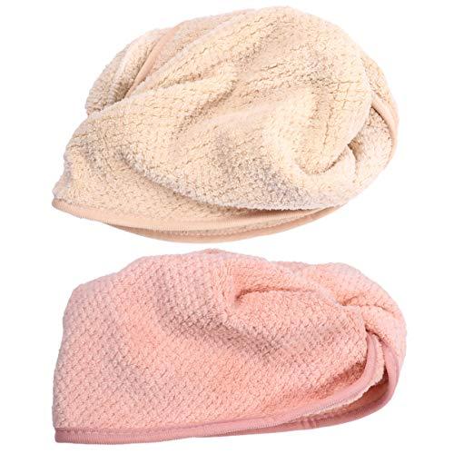 EXCEART 2 Pcs Microfibre Cheveux Serviette Wrap Corail Polaire Super Absorbant Torsion Séchage Rapide Cheveux Cap Chapeau pour Bain Douche Rose Beige