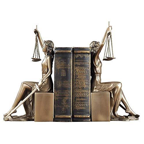 WLVG Escultura de Diosa Griega, sujetalibros de Diosa de la Justicia, Resina, Diosa de la Justicia, Adornos para Manualidades, decoración de Biblioteca, latón, 13x26x11cm (5x10x4 Pulgadas)