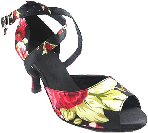 Wohommes Imprimé Chaussures De Danse Latine,Satin Fond Mou Talons Hauts Salsa Chaussures De Danse Sociale Indoor Sandale